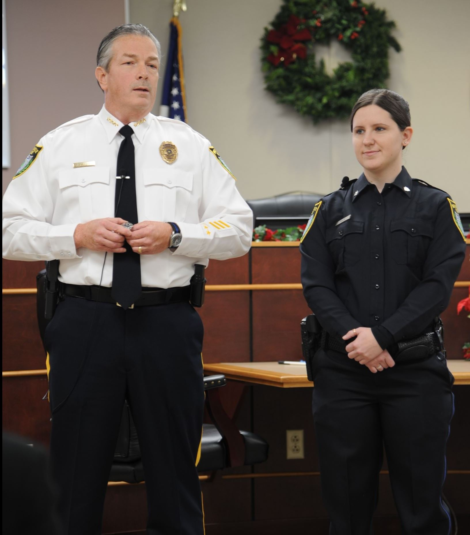 Murrysville Police Chief Tom Seefeld and Officer Samantha Malik