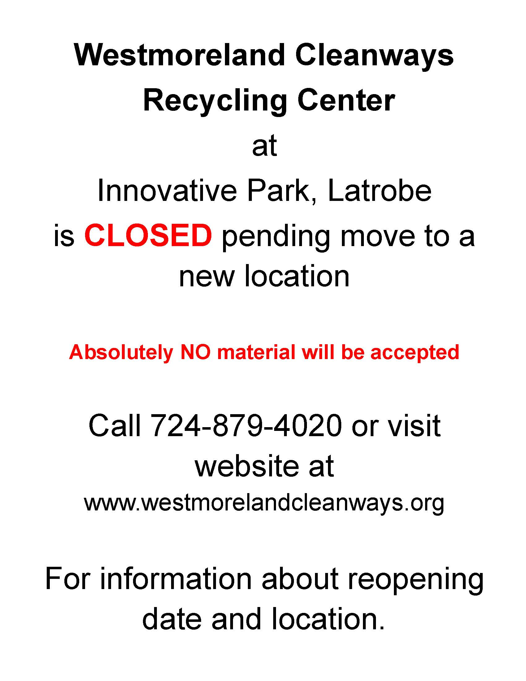 Westmoreland Cleanways-Closing Notice