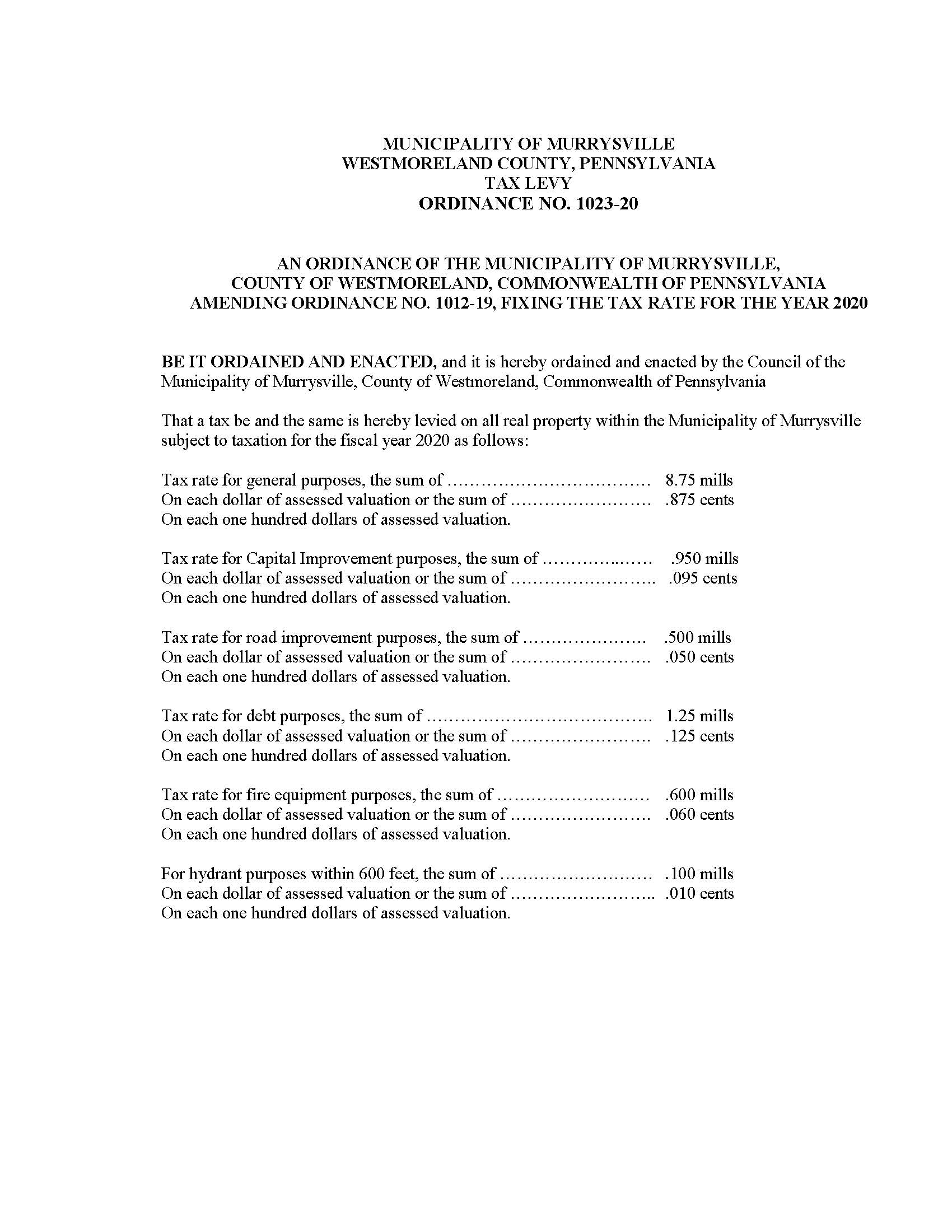 Ordinance No. 1023-20 Amending the 2020 Tax Ordinance_Page_1